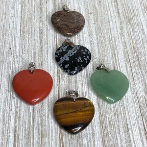 Jewelry - Natural Stone Carved Heart 18K Gold Plate Pendants